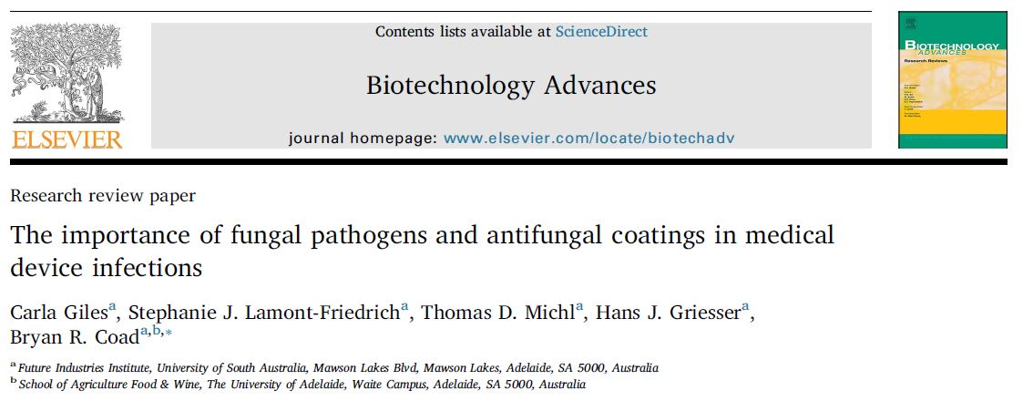 The Importance of fungal pathogens and antifungal coatings in medical device infections